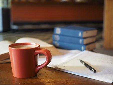 コーヒー, 学校, 宿題, コーヒー ショップ, 教育, 学生, カップ, 研究