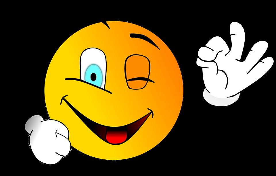 Sonrisa, Smiley, Guiño, Vale, Correctamente, Bien Hecho