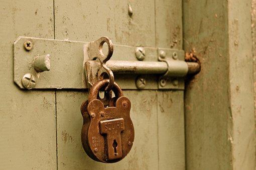 Bolt, Padlock, Door, Locked, Paint, Gate
