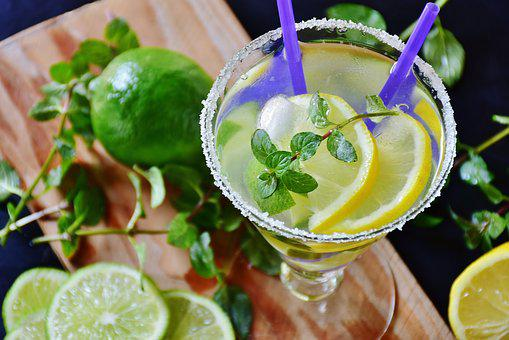 Lime, Drink, Mineral Water, Ice, Mint