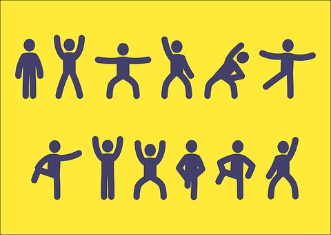操棒人, 男, スティック, 体操, 棒人間, シルエット, 体, 人, 図