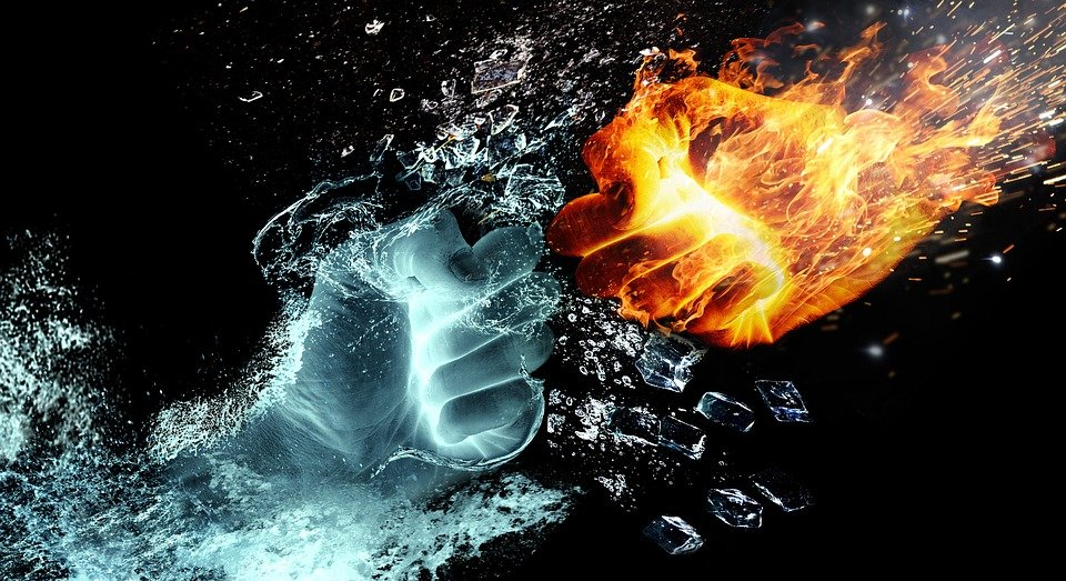 Fire And Water, Fight, Hands, Fire, Heat, Burn, Flame