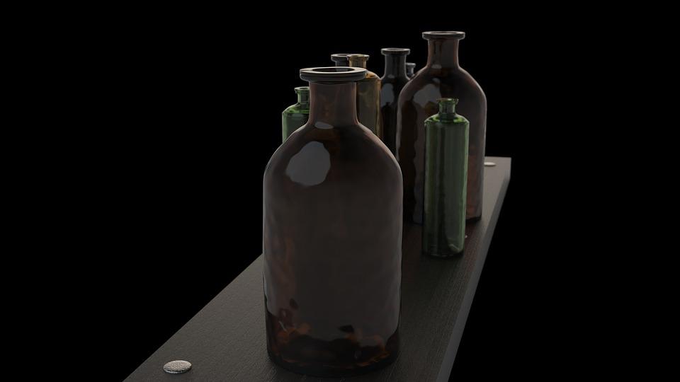 Vintage Bottle Old Glass Medicine Alcohol Antique