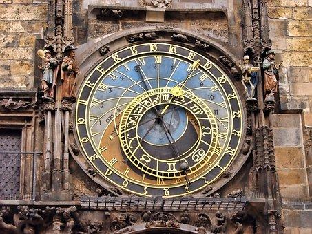 Prague, Horloge, Astrologique, Tchèque