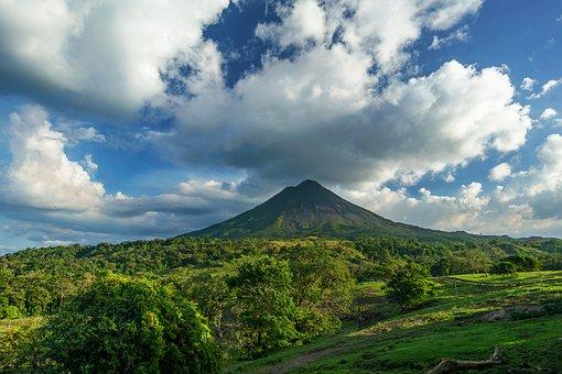 Volcano, Costa Rica, Clouds, Blue Sky