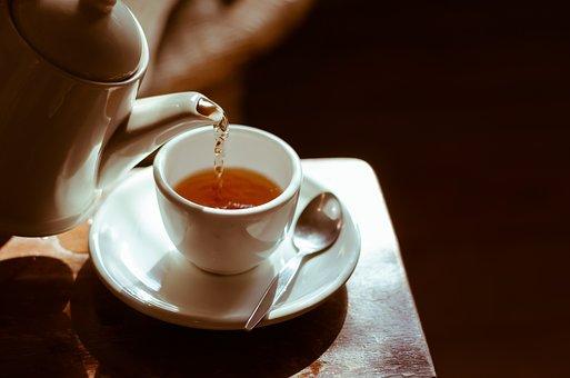 茶, ホット, カップ, テーブル, お茶の時間, 破る, ハーブの, 葉