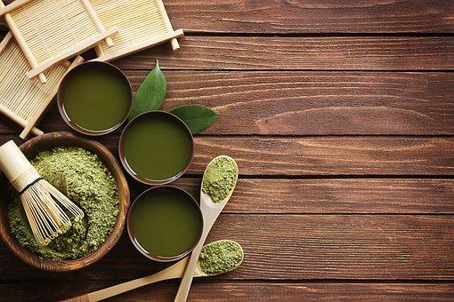 抹茶粉末, 新鮮な, 緑, 粉末, 抹茶, 健康, 牛乳, ドリンク, 日本