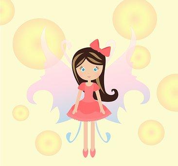 人形, 泡, 翼, 妖精, 女の赤ちゃん, 漫画, 子供たち, かわいい