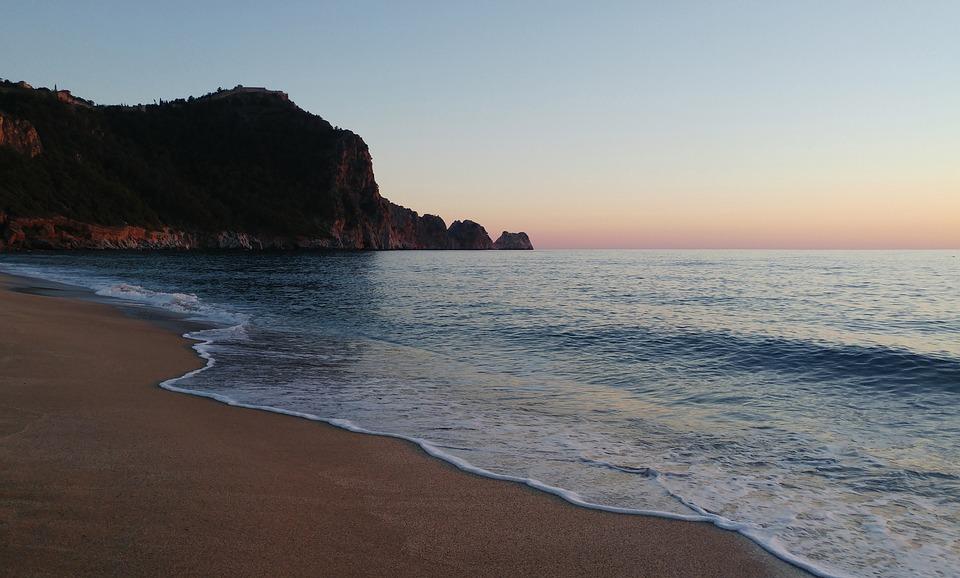 Beach, Alanya, Antalya, Marine, Turcja, Krajobraz