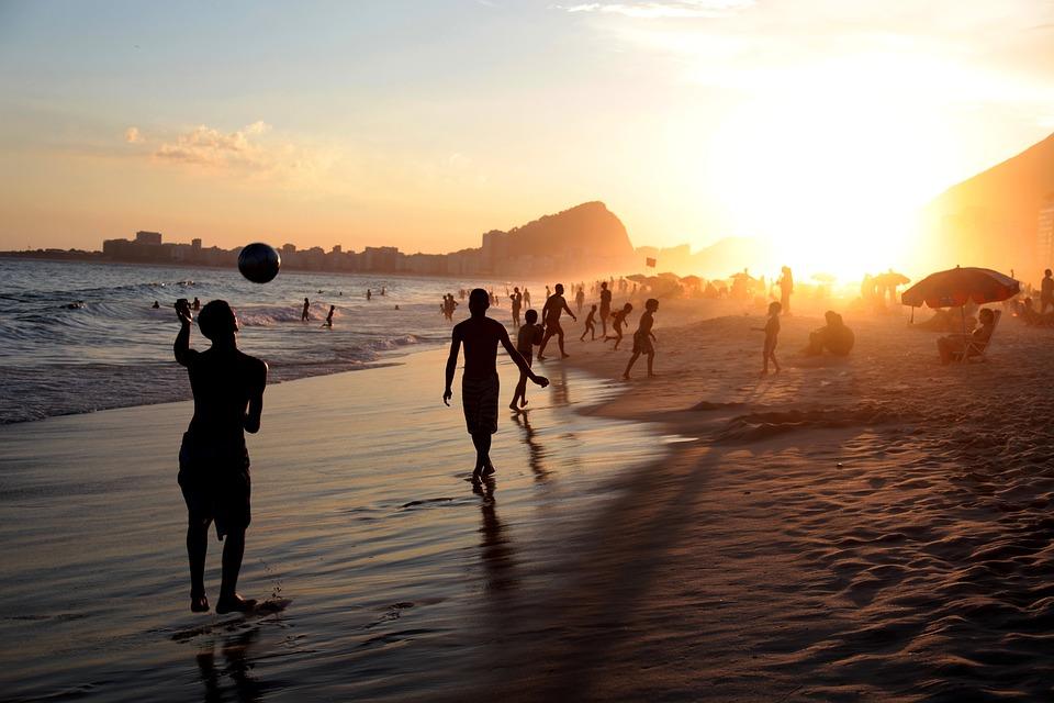 Rio, Brasil, Persone, Calcio, Beach, Palla, Giocando