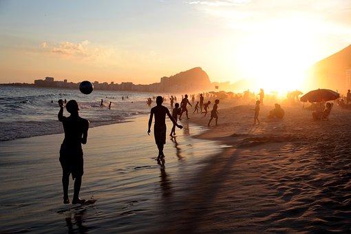 リオ, ブラジル, 人, サッカー, ビーチ, ボール, 再生, 線, 海