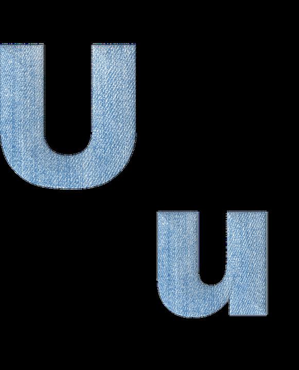 Fabric 3D Denim Alphabet Letter U