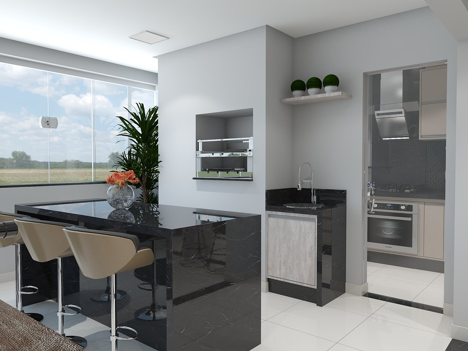 Free photo balcony kitchen 3d render free image on for Balcony kitchen