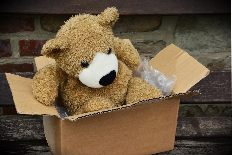 パッケージ, メイド, 包装, 送信, 段ボール箱, 段ボール, 出荷, テディー ・ ベア, テディ