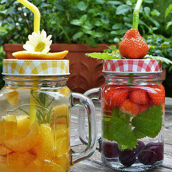 Glasses, Water, Fruit, Fruits Water