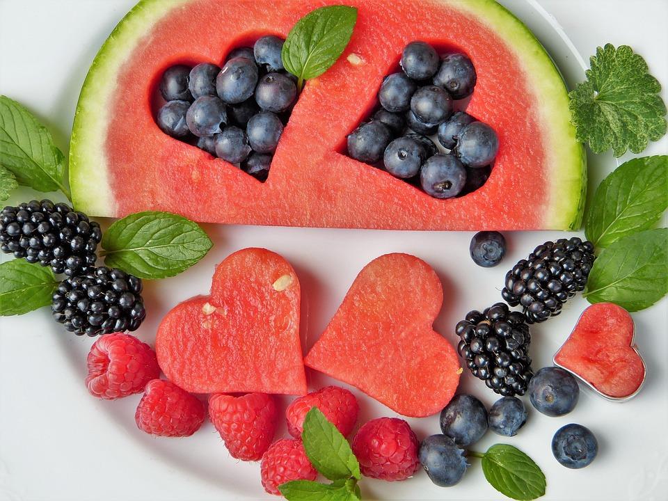 Wassermelone, Beeren, Früchte, Herz, Blaubeeren