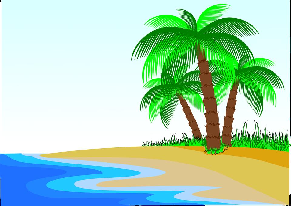 Palmeras Playa Litoral Gráficos Vectoriales Gratis En Pixabay