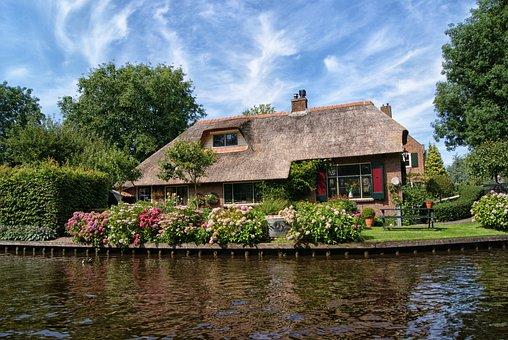 ヒートホールン、ファーム、家、コテージ、村、ロマンス、オランダ