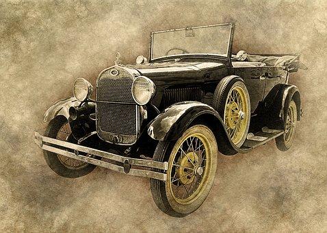 Car, Old Car, Black, Art, Vintage