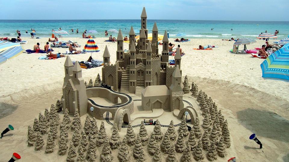 Mallorca, Beach, Sandburg, Vacations, Summer, Sun, Sand