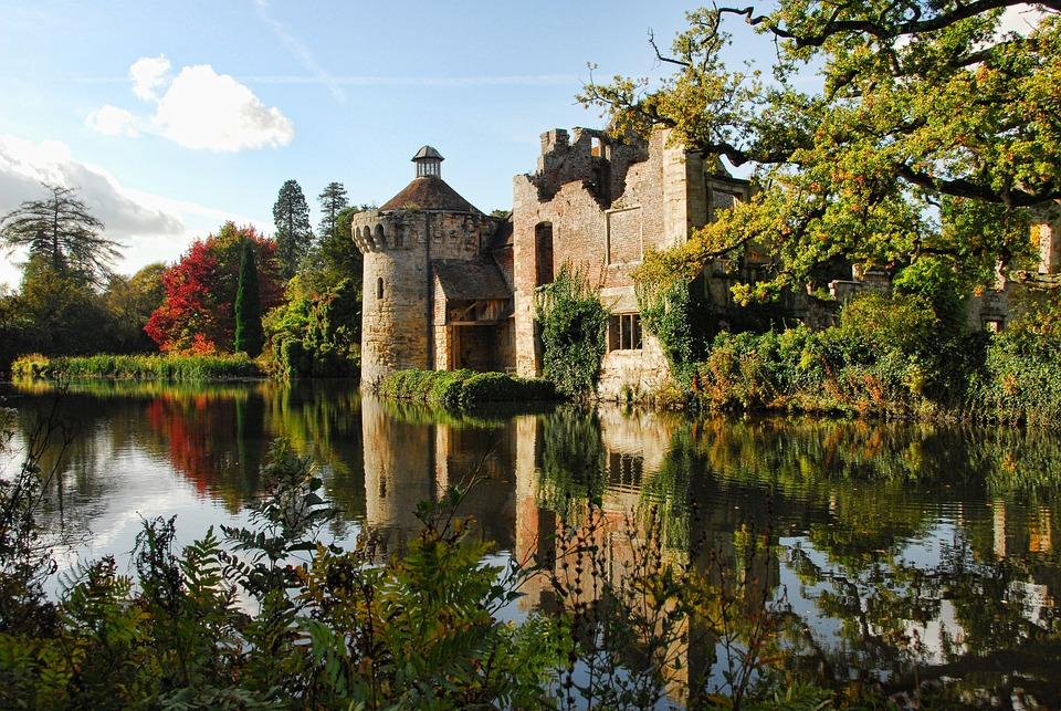 斯科特尼城堡, 城堡, 肯特, 薩塞克斯, 中世紀, 英格蘭, 反思, 莊園的房子, 遺產, 旅行, 歷史