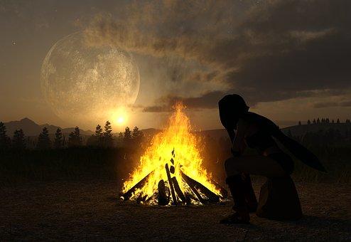 Landscape, Fire, Summer, Sommerfest