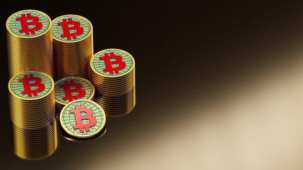 Bitcoin, Coins, Stack, Gold, 3D, Blender