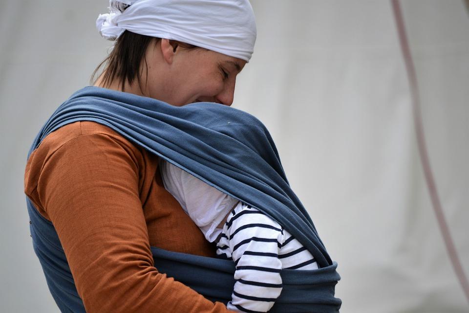 Gray baby sling
