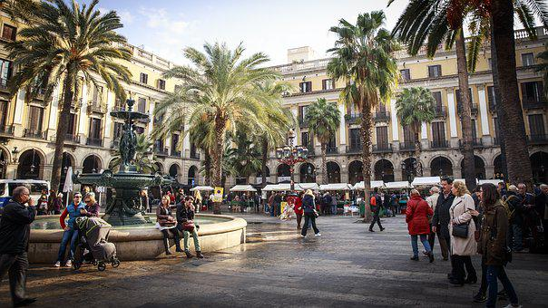 Barcelona, Kvadrat, Spanien, Urbana