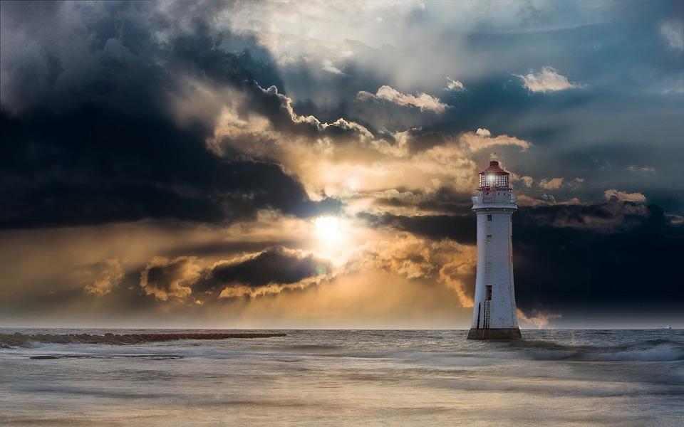 Farol, Brilho, À Noite, Nuvens, Pôr Do Sol, Oceano, Mar