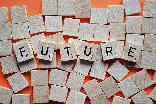 未来, 時間, 文字, スクラブル, 茶色の時間, 茶色の未来, 茶色の文字