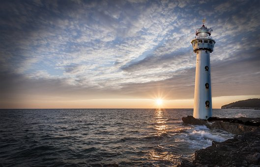 Lighthouse, Glow, Evening, Clouds