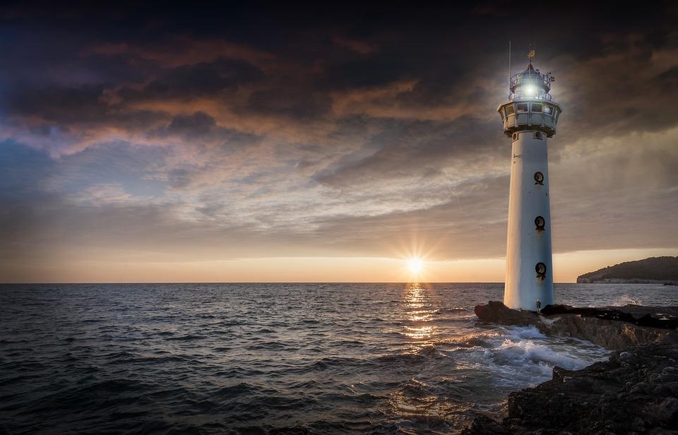 Farol, Brilho, À Noite, Pôr Do Sol, Oceano, Mar