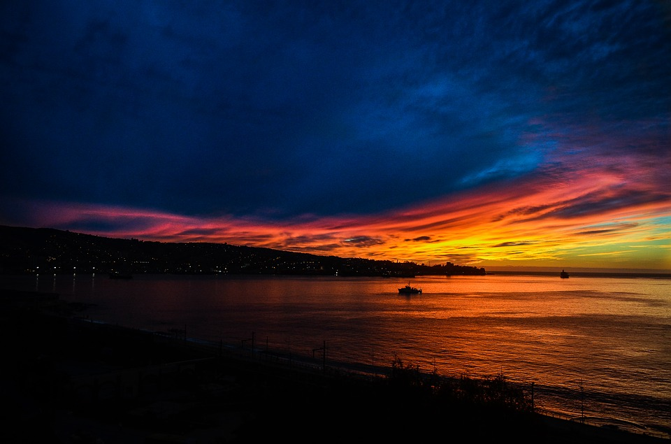Sunset, Sun, Blue, Sky, Clouds, Horizon, Beach