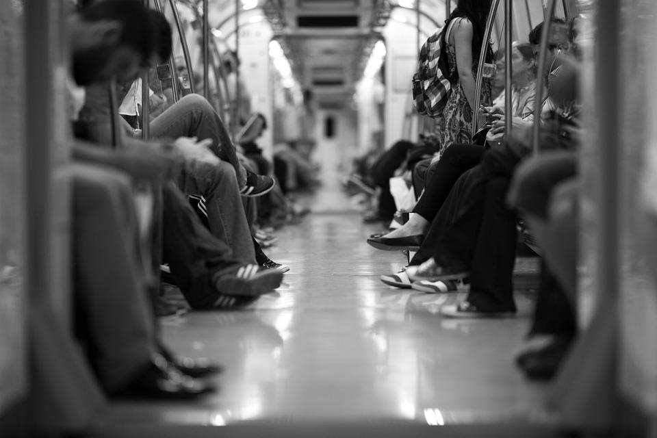 Train, Wagon, People, The Crowd, Feet, Subway