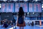 port lotniczy, transportu, kobieta