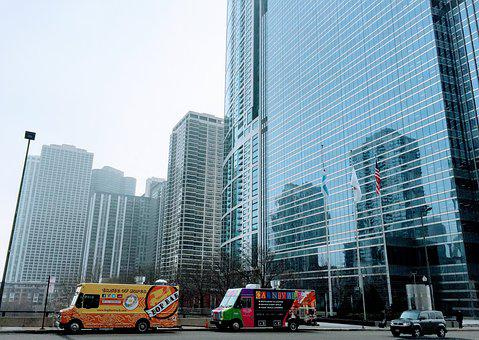 Food Truck, Chicago, Skyscraper, Morning