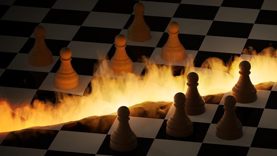 チェス盤, 数字, 火, 亀裂, 深淵, 3 D, ミキサー
