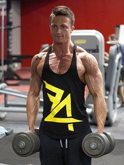 フィットネス, の強化, 筋肉, ダンベル, エクササイズ, 男, 男の子