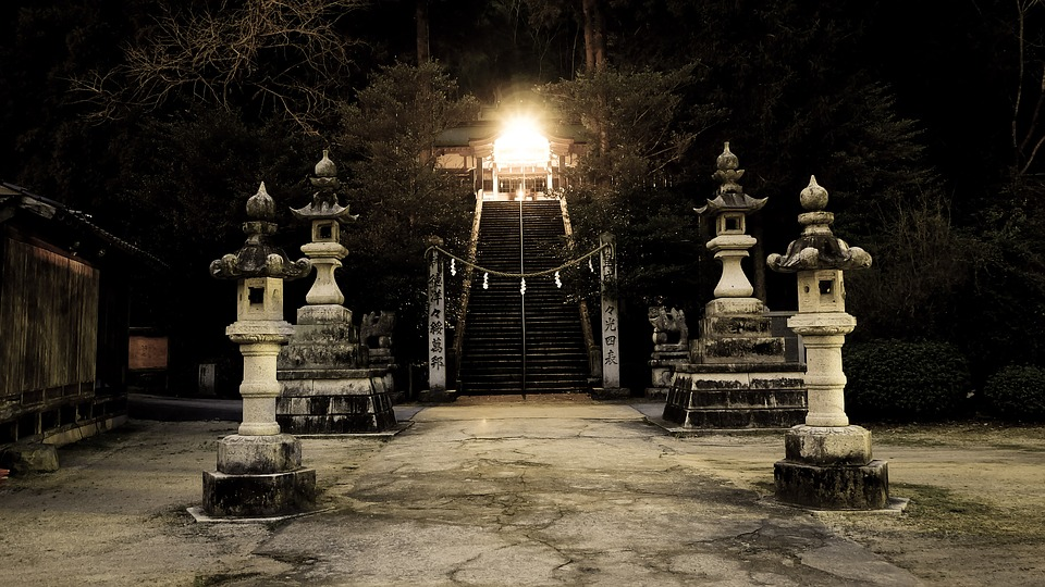 Shrine, Japan, Lantern, Guardian Dogs, Torii, Shimenawa