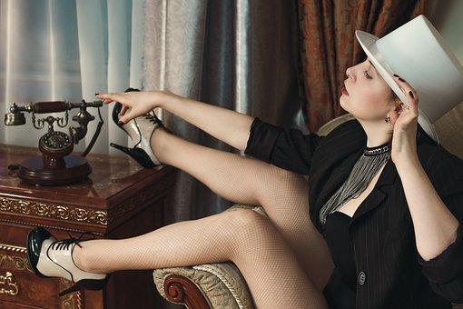 Girl, Hotel, Burlesque, Hat, Phone