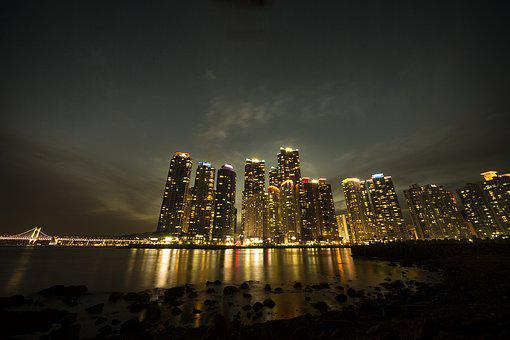 Building, 高層ビル, Beach, Night View, City