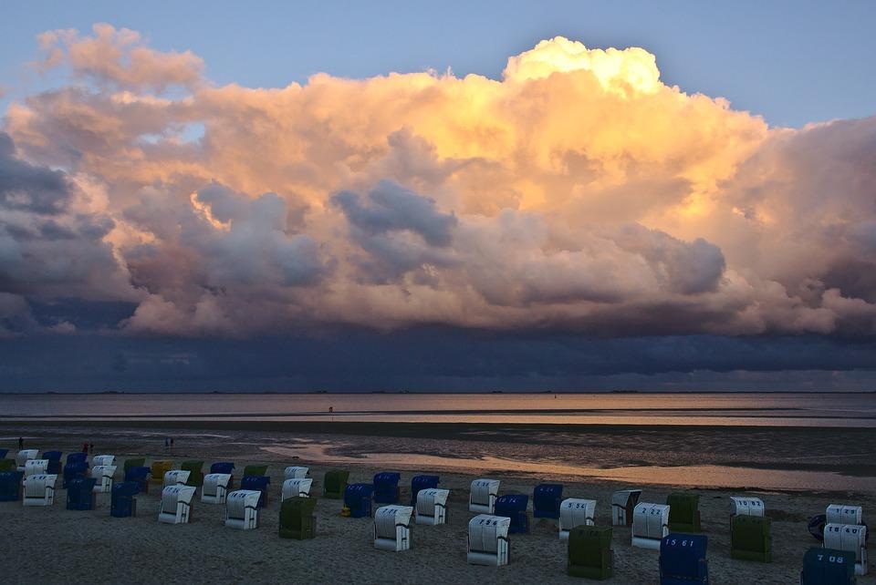 Free photo Beach Chairs Sunset Sky Cumulus Free Image on