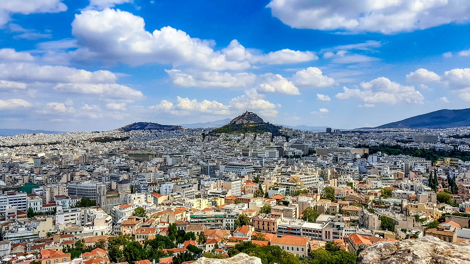 Athens, Hill, City, View, Scenic, Vista, Sky, Clouds