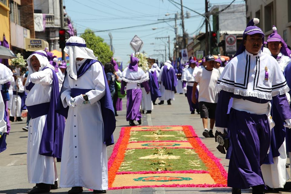 Wielkanoc, Ulica, Fioletowy, Procesja, Dywan, Gwatemala