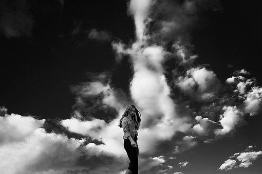 Against Sky, Girl, Bw, Portrait, Woman