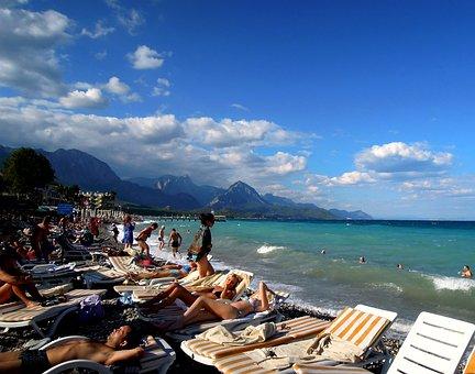 Sea, Beach, People, Sunbathing, Pebbles