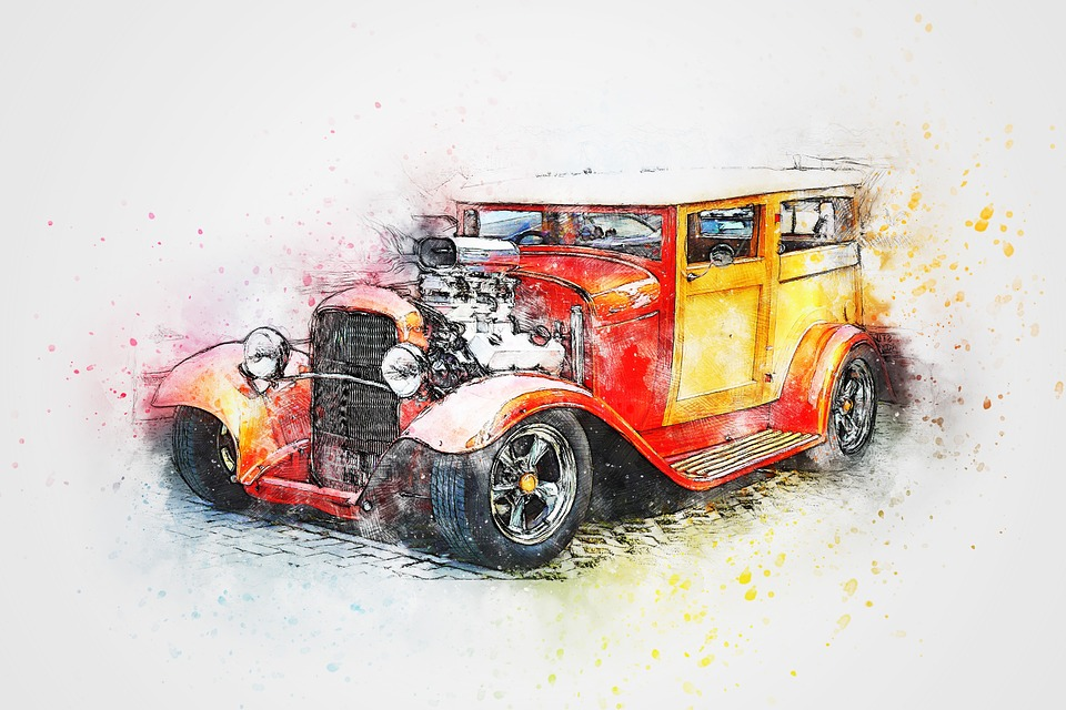 Car, Hot Rod, Vehicle, Art, Abstract