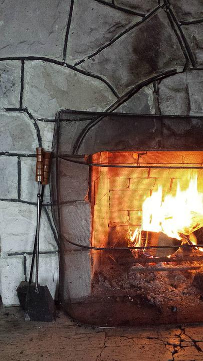 Kamin Kabine Stein Brennen Rustikal Feuer