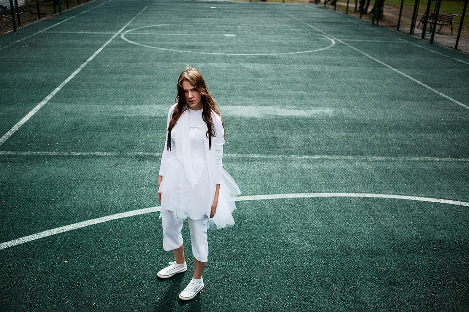 Tennisplatz, Mädchen, Tänzerin, Schönheit, Stil, Frau